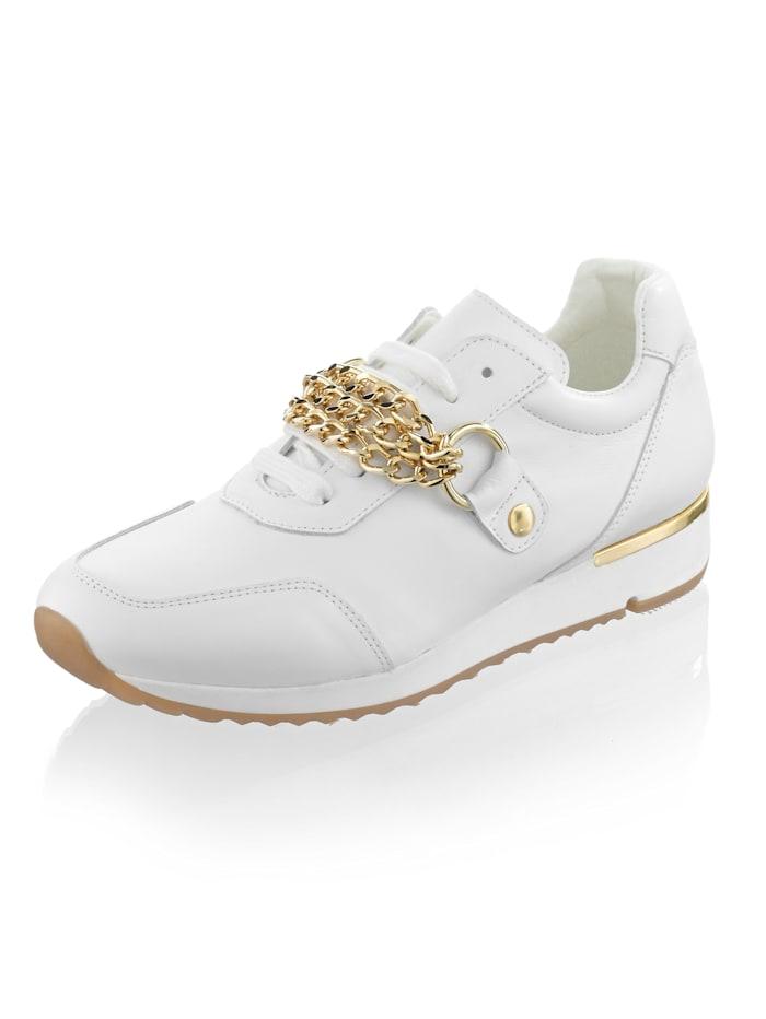 Alba Moda Sneaker aus Rindsnappaleder, Weiß/Goldfarben