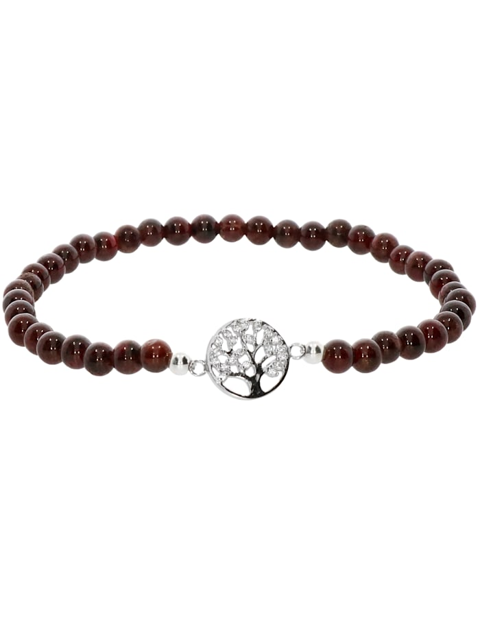 1001 Diamonds Baum des Lebens Granat Armband 925 Silber 17 cm, braun