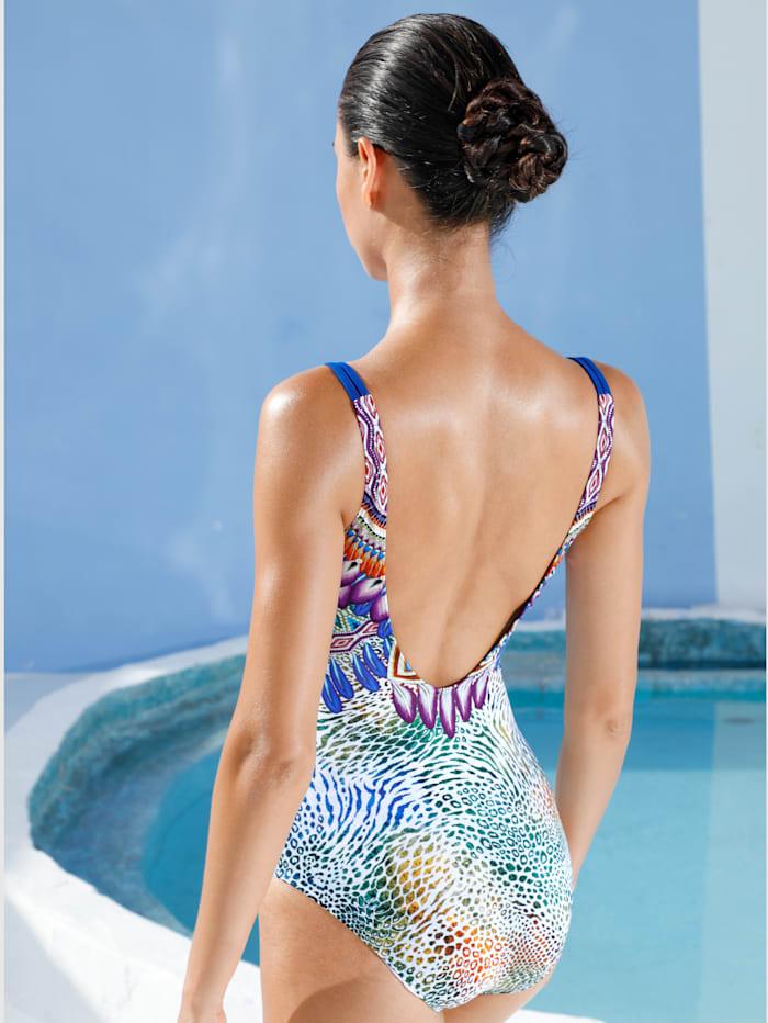 Badeanzug mit attraktivem Feder-Print am Ausschnitt