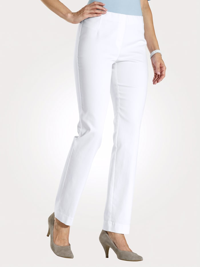 MONA Pull-on trousers made from a comfortable fabric, White