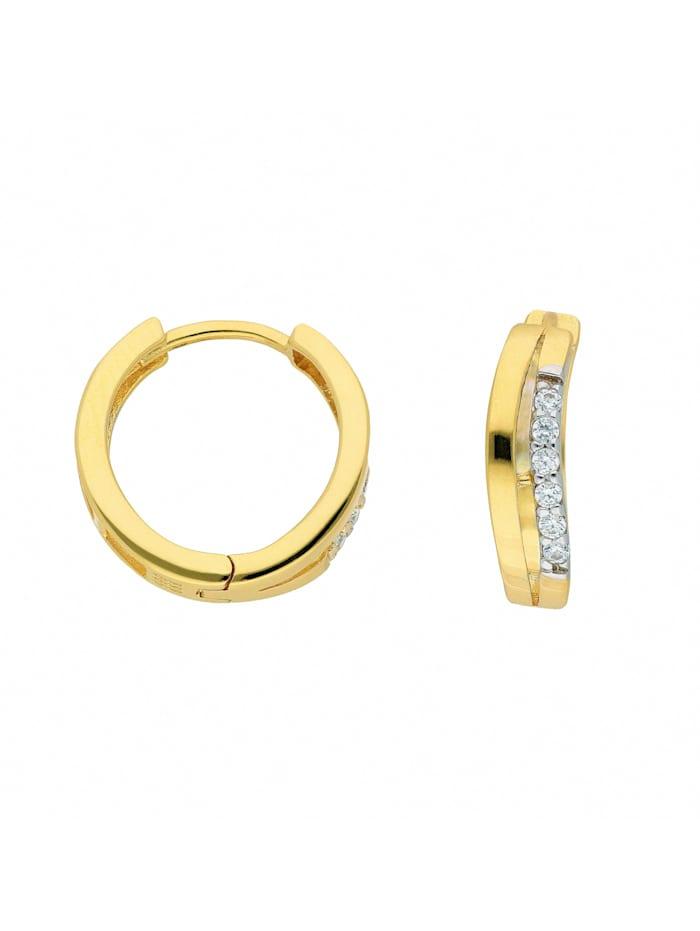 1001 Diamonds Damen Goldschmuck 333 Gold Ohrringe / Creolen mit Zirkonia, gold
