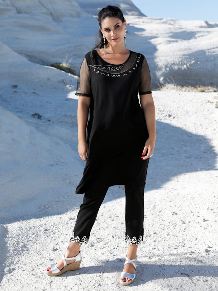 MIAMODA Robe avec empiècements en mesh, Noir