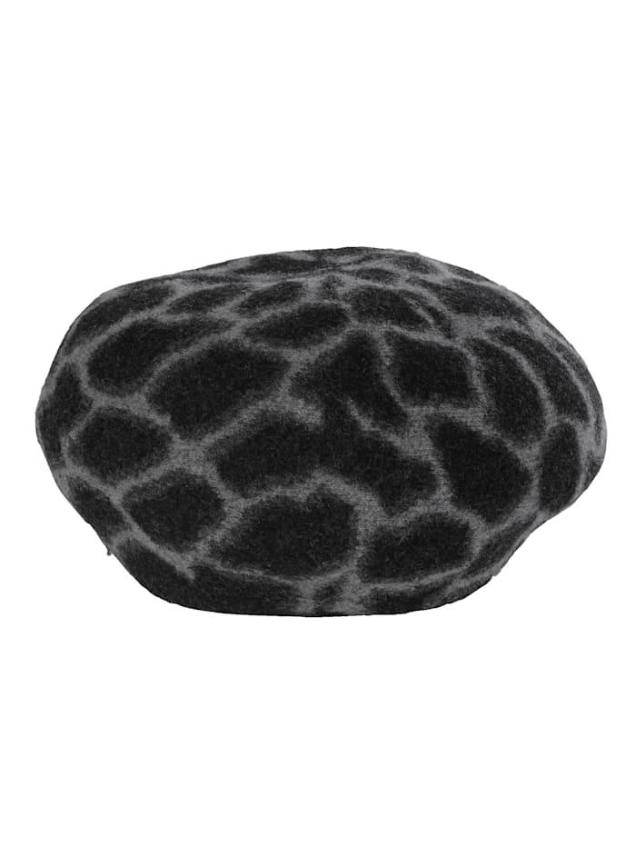 Seeberger Béret à motif léopard, Noir/gris