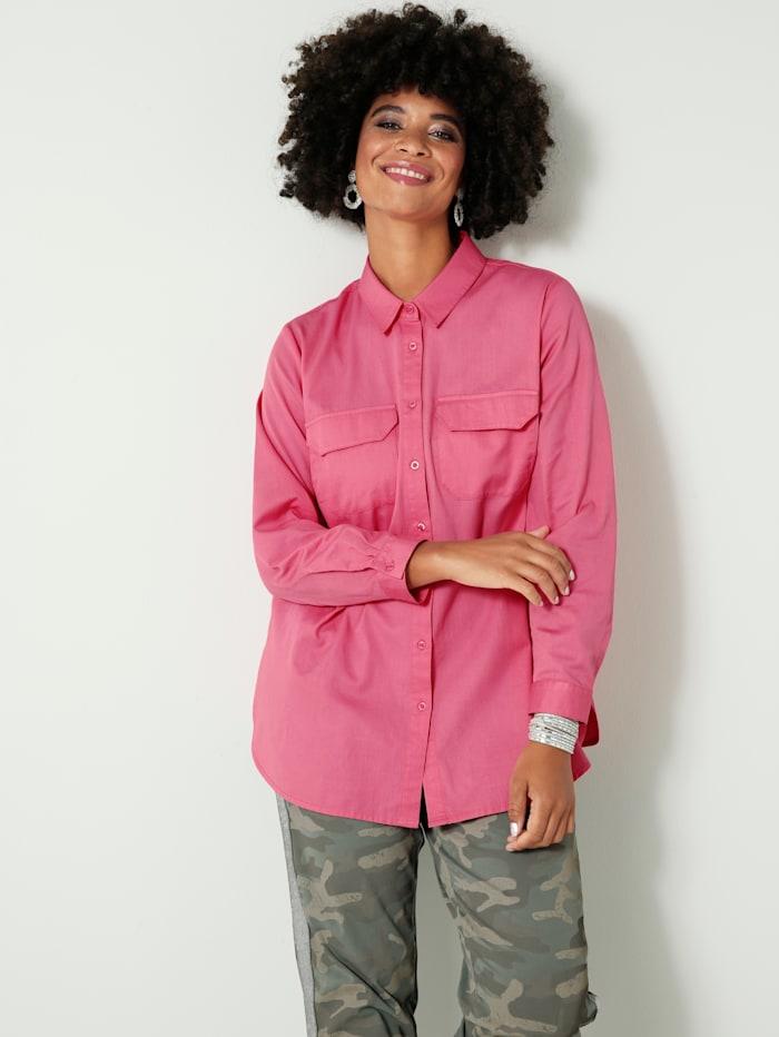 Angel of Style Hemdbluse aus reiner Baumwolle, Pink