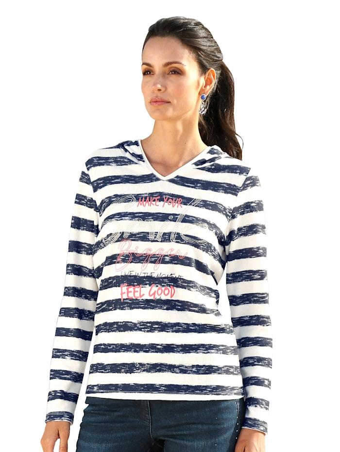 AMY VERMONT Sweatshirt mit Kapuze, Weiß/Marineblau