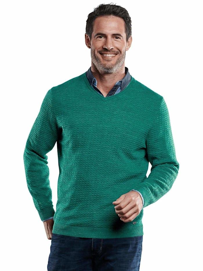 Engbers Pullover V-Ausschnitt, Petrolgrün