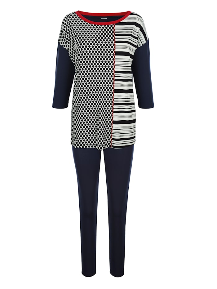 Harmony Joggingpak met voor gedessineerd shirt, Marine/Wit/Rood
