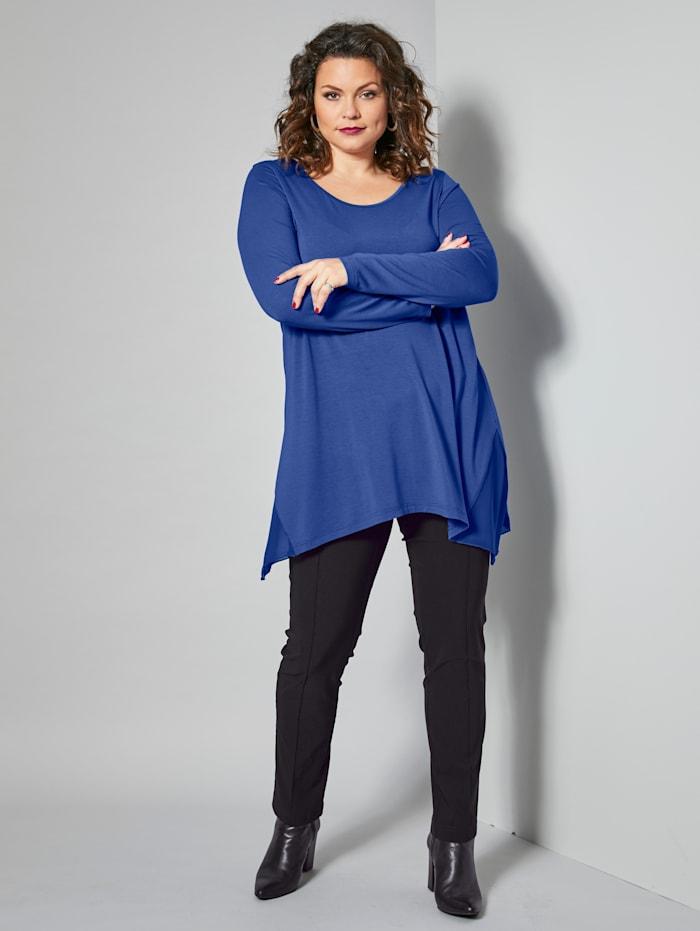 Sara Lindholm Jersey-Tunika mit Chiffon-Einsätzen, Blau
