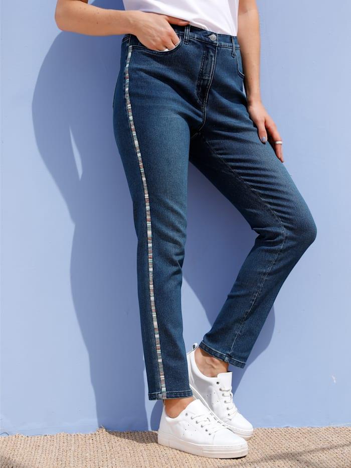 MIAMODA Jeans met decoratief tape opzij, Blue stone