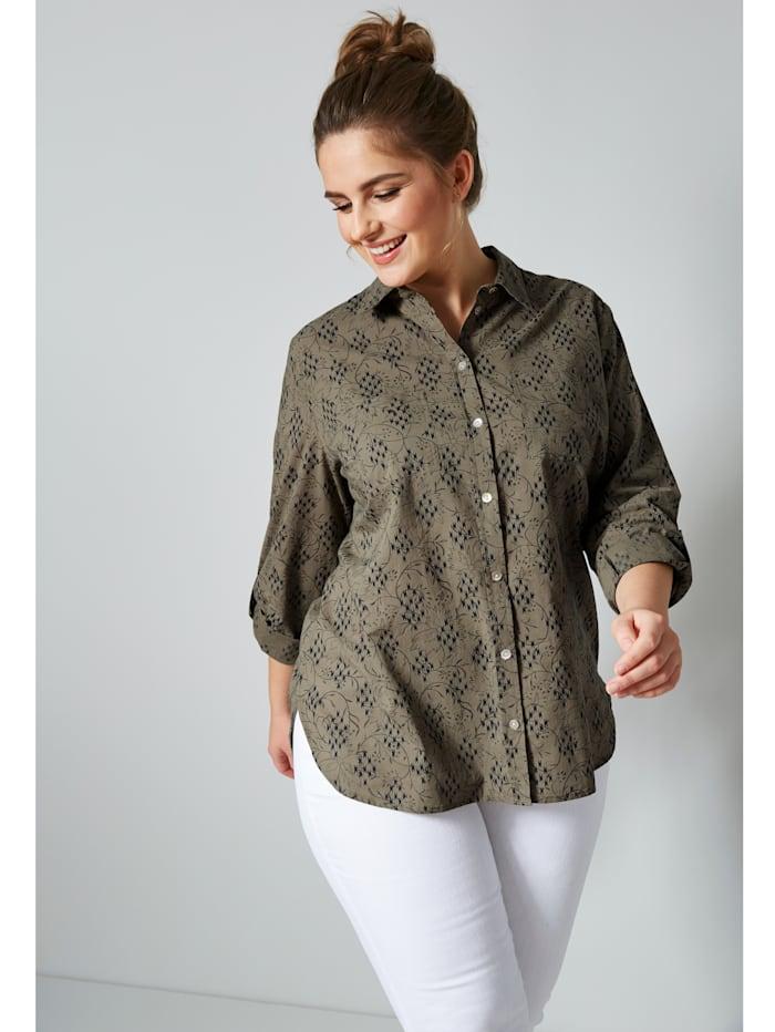 Janet & Joyce Bluse aus reiner Baumwolle, Khaki/Marineblau