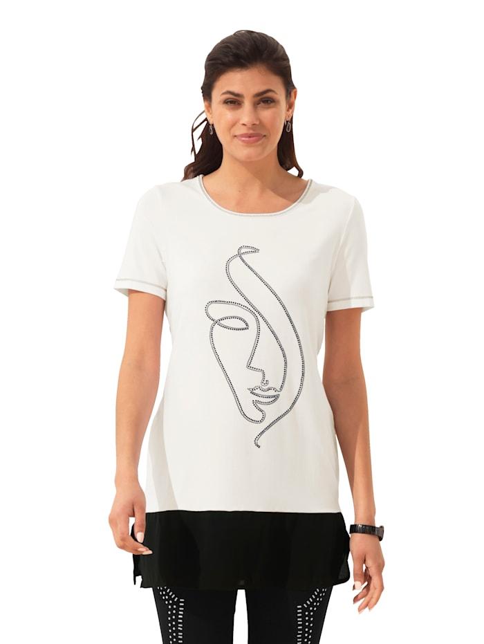 AMY VERMONT T-shirt long avec strass, Blanc