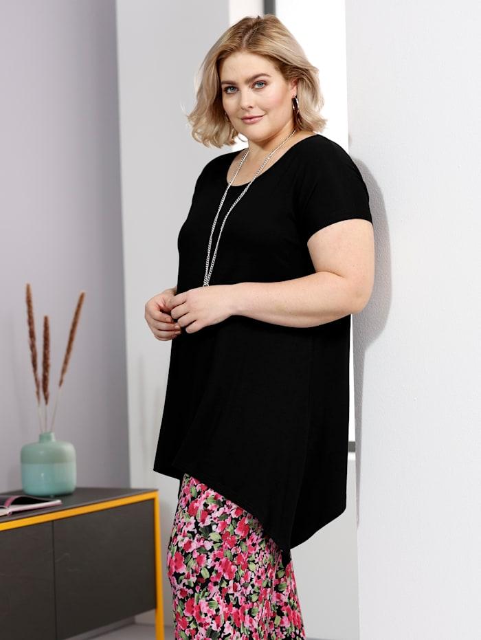 Sara Lindholm T-shirt à pointes en viscose douce et fluide, Noir
