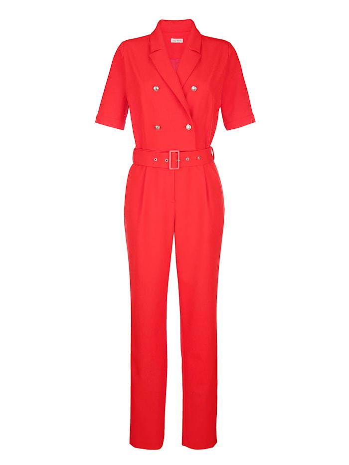 Alba Moda Overal so zapínaním v dvojradovom vzhľade, Červená
