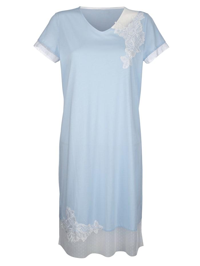 Simone Nachthemd met elegante details van kant, Lichtblauw/Ecru