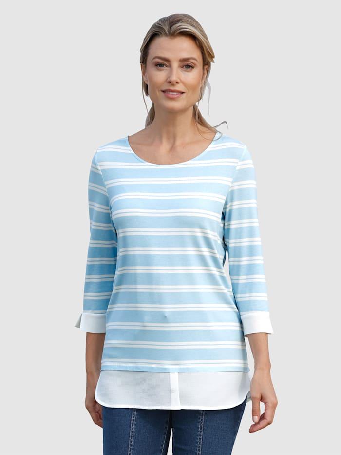 basically you Shirt met blouse-inzet, Lichtblauw