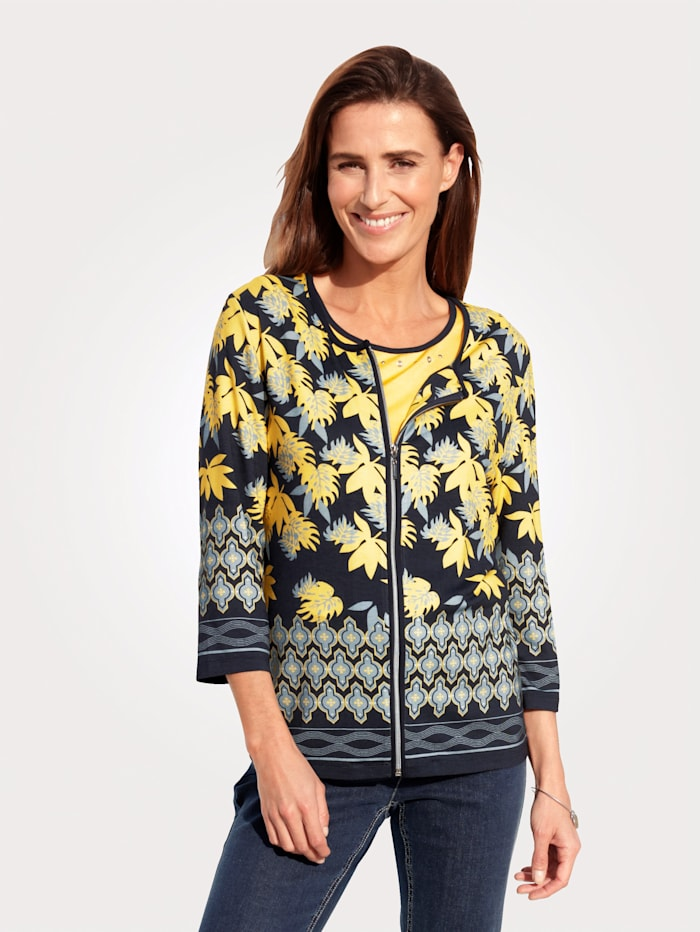 MONA Twinset with a placed print, Yellow/Navy/Light Blue