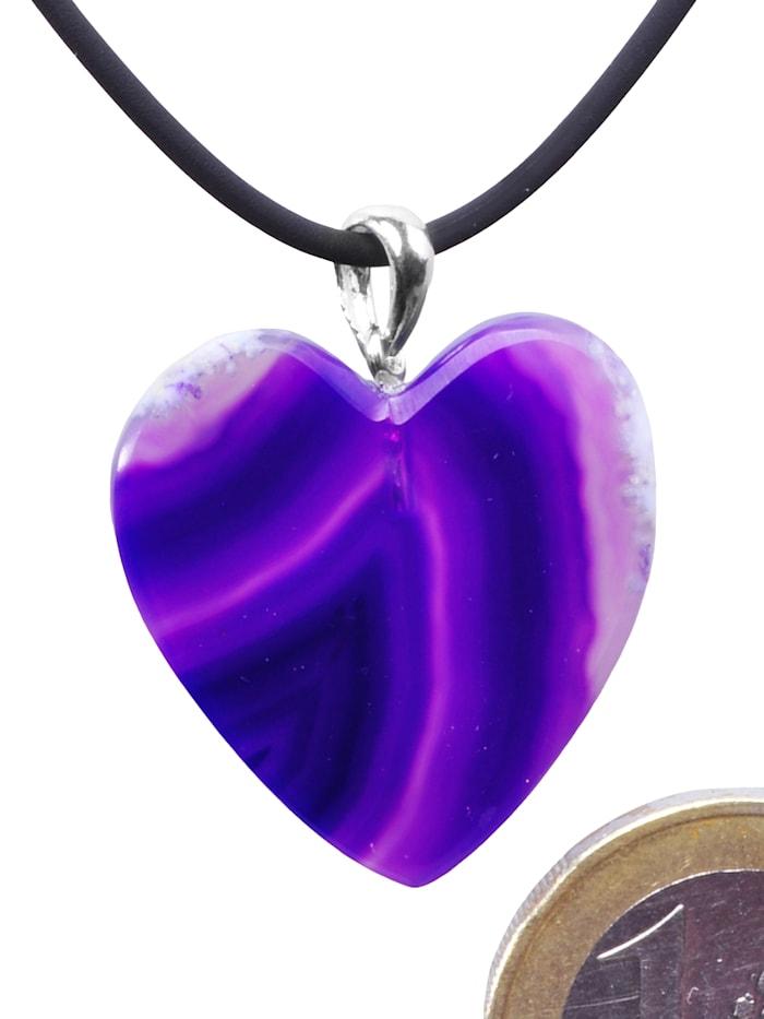 1001 Diamonds Damen Schmuck Edelstein Achat Anhänger 925 Silber violett Herz, violett