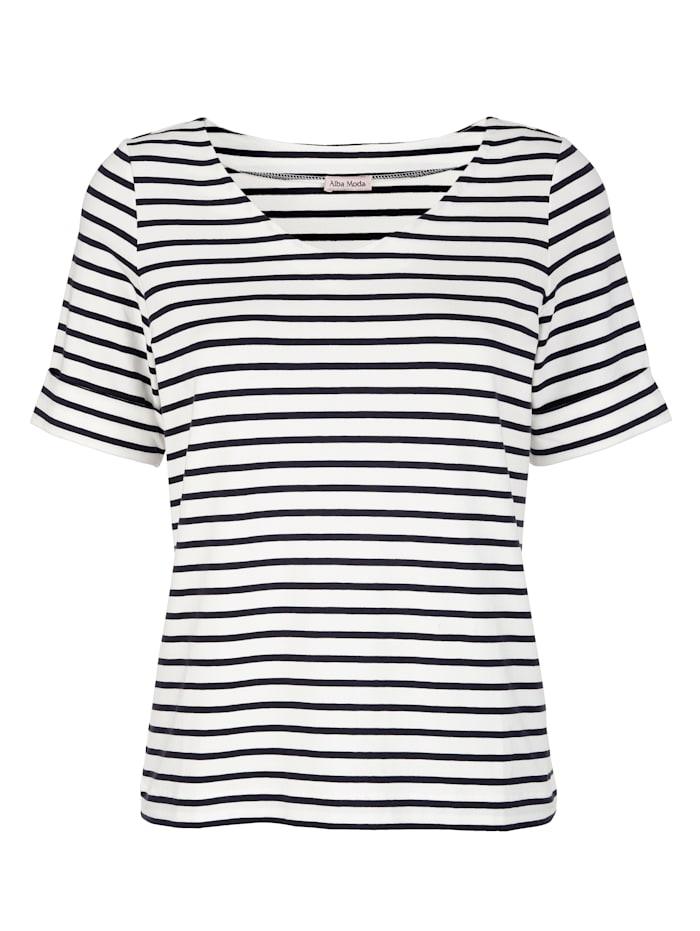 Alba Moda Shirt in sportivem Ringeldessin, Blau/Off-white