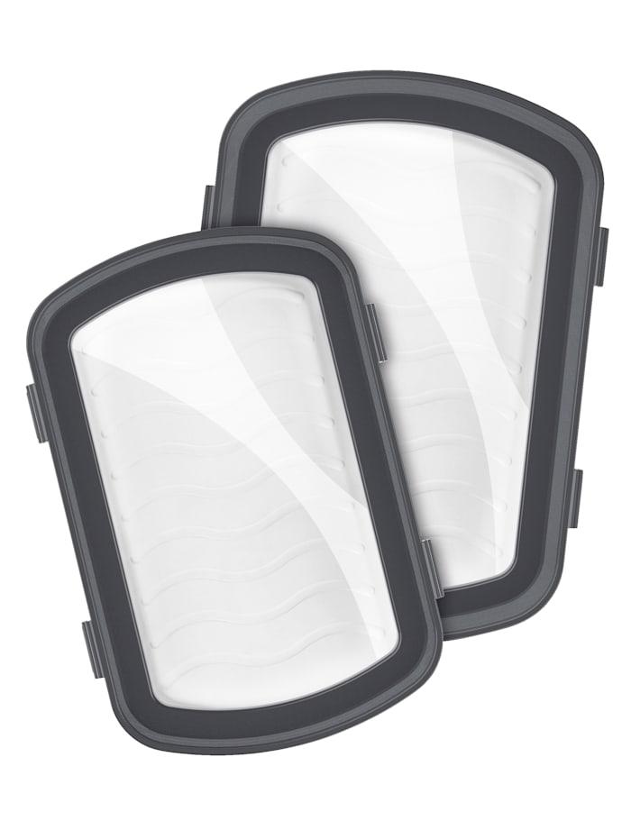 MAXXMEE Lot de 2 plateaux fraîcheur MAXXMEE 'Klick-It', Blanc/gris/transparent