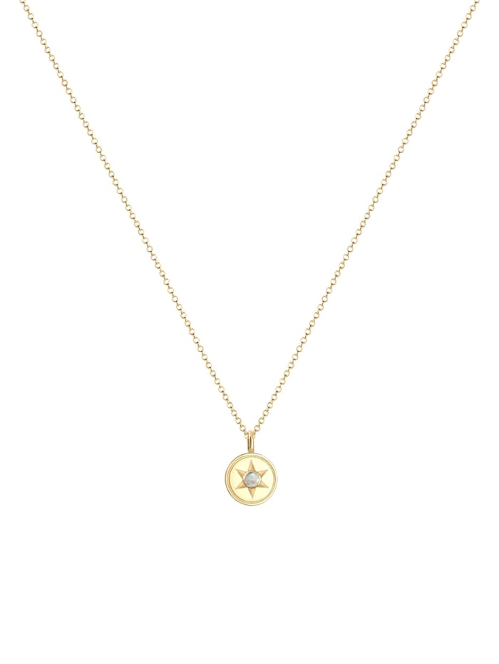 Halskette Stern Astro Labradorit Edelstein Coin 925Er Silber