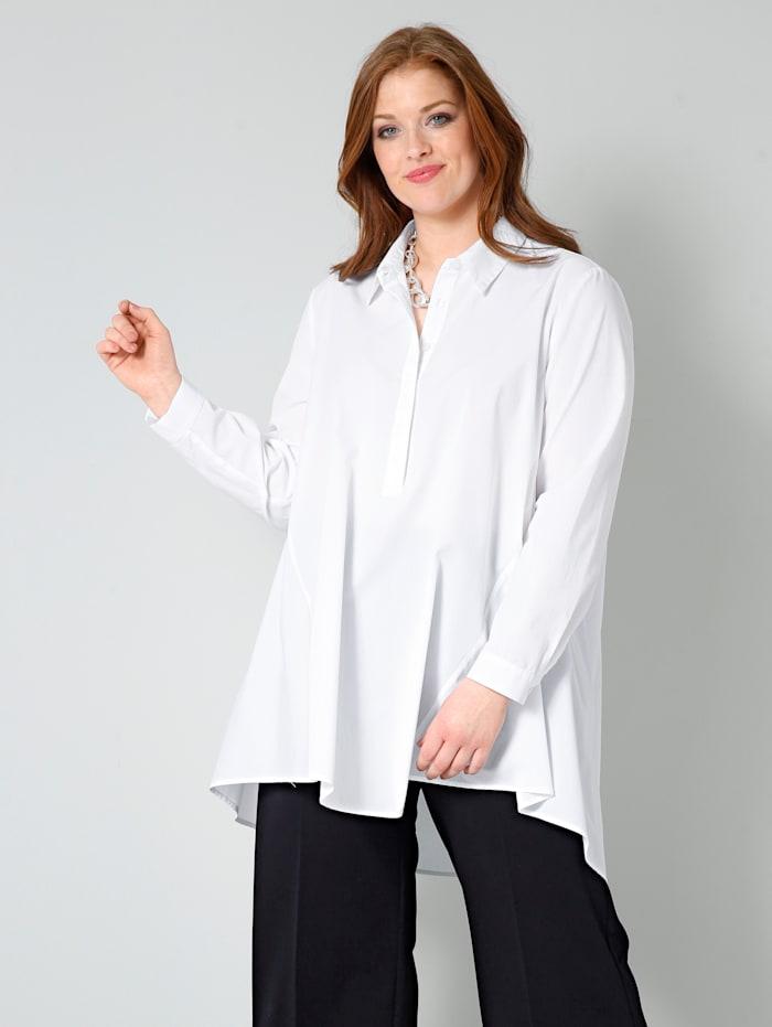 Sara Lindholm Bluse mit kurzer, verdeckter Knopfleiste, Weiß