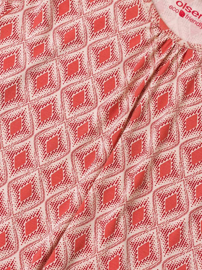 Rundhalsshirt mit femininer Raffung am Ausschnitt
