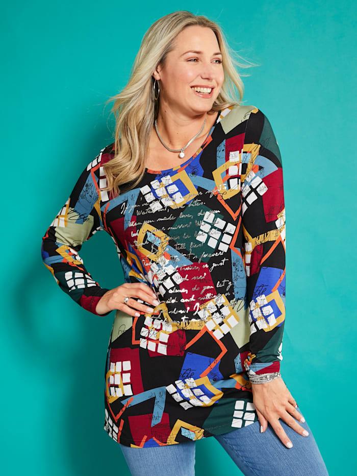 MIAMODA Shirt vorne mit glänzendem Schriftedruck, Multicolor