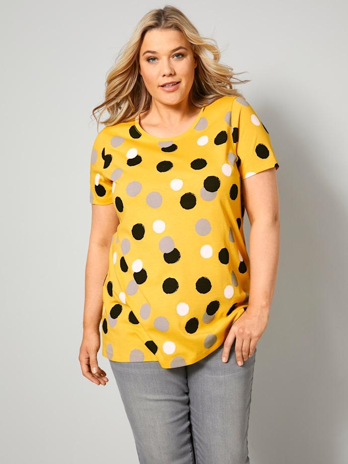 Janet & Joyce Shirt aus reiner Baumwolle, Gelb/Weiß/Schwarz
