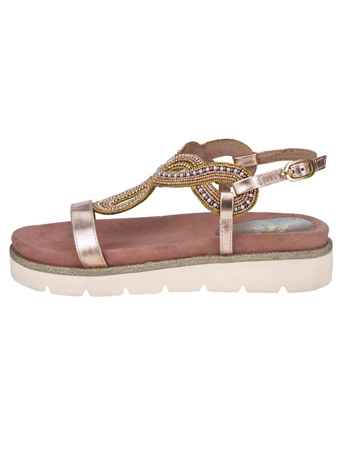 Sandales à plateau Applications réalisées à la main, brodées de perles et ornées de pierres fantaisie