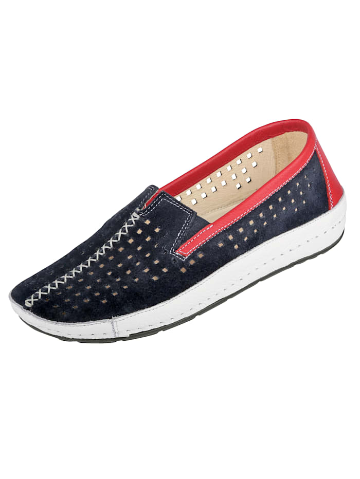 Naturläufer Loafers with airy cutout detailing, Blue/Red