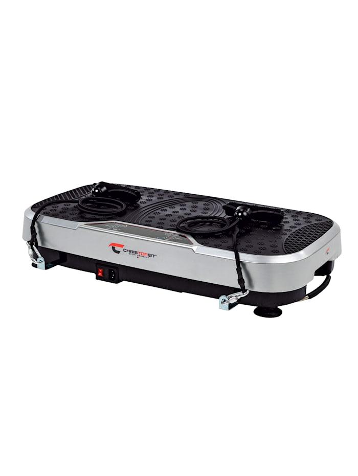 Christopeit Vibrationsplatta Vibro 3000 med praktiska transporthjul, svart/grå