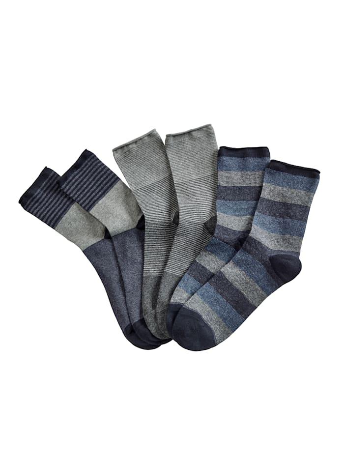 Blue Moon Herrensocken 6er Pack, 2x grau, 2x jeansblau, 2x marine
