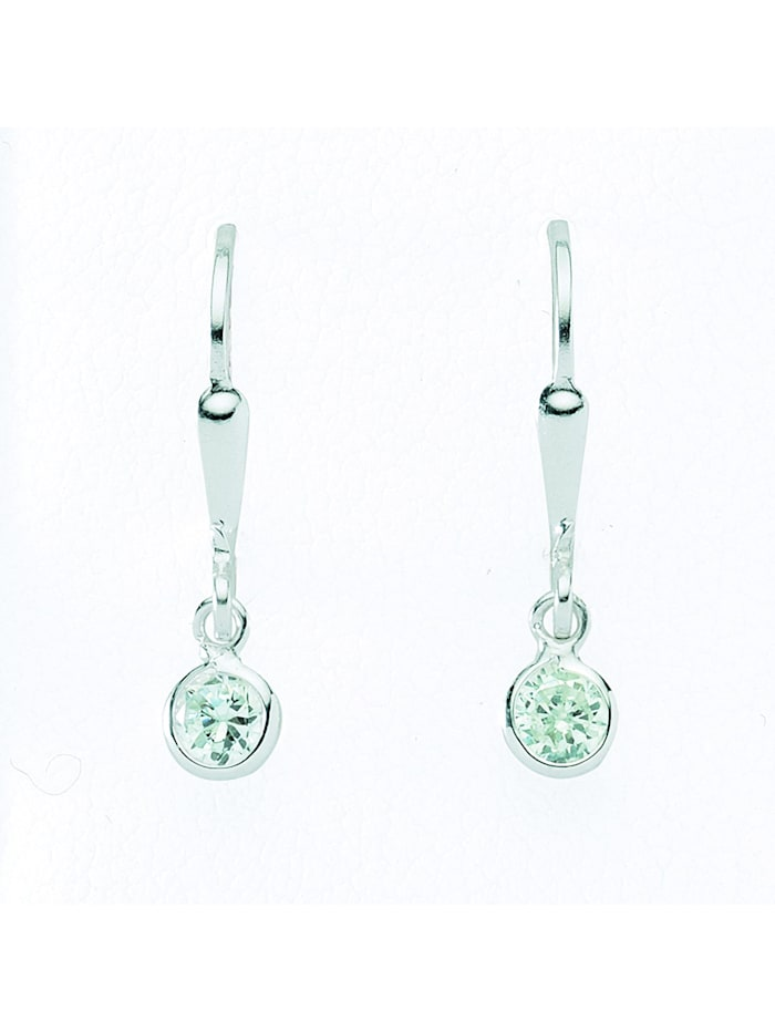 1001 Diamonds Damen Silberschmuck 925 Silber Ohrringe / Ohrhänger mit Zirkonia Ø 4,6 mm, silber
