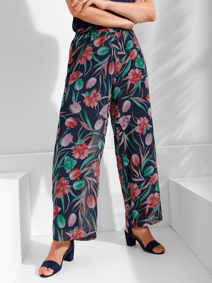 MIAMODA Kalhoty s jemným květinovým potiskem, Multicolor