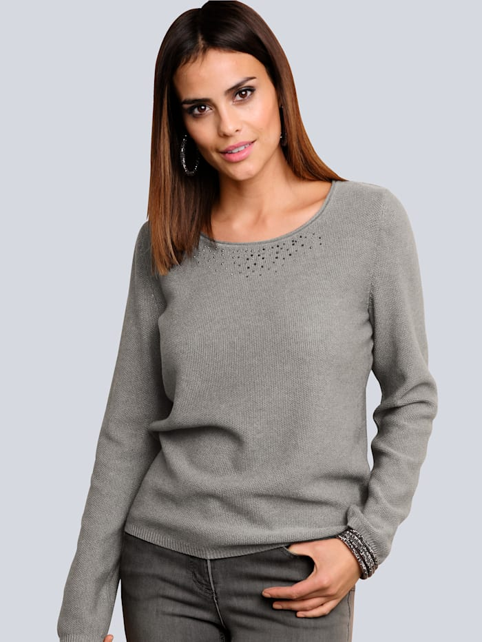 Alba Moda Pullover mit Strass-Steinchen entlang des Ausschnittes, Grau