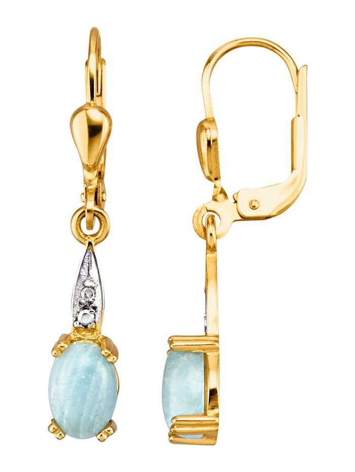 Ohrringe in Gelbgold 585, Blau