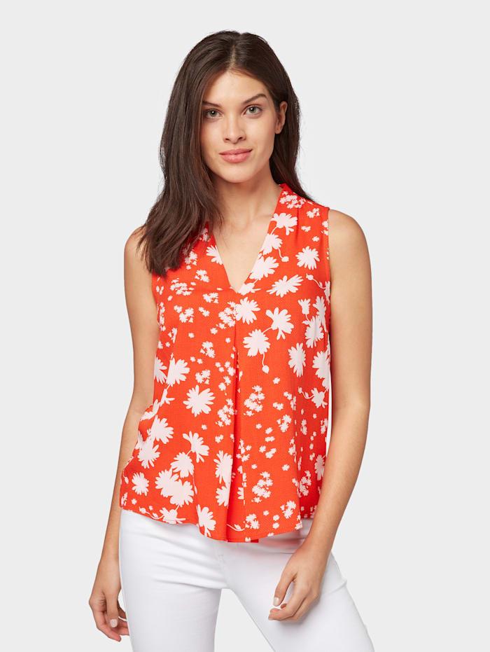 Tom Tailor Bluse mit Blumenmuster, orange flower mix print
