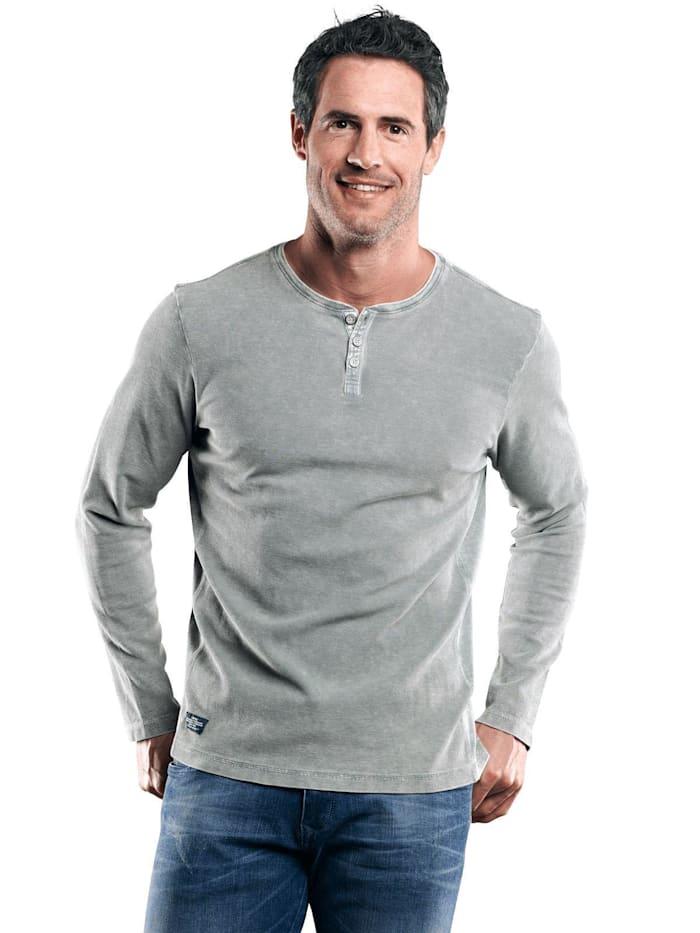 Engbers Henley Shirt mit Waffelstruktur, Silbergrau