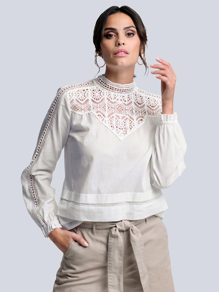 Alba Moda Bluse mit dekorativem Spitzeneinsatz, Off-white