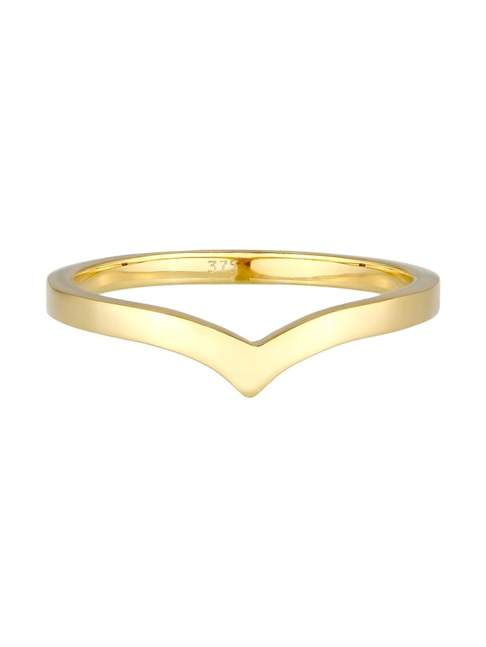 Ring V-Form Stapelring Geo Look Modern 375 Gelbgold