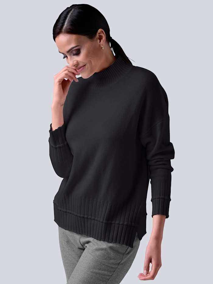 Alba Moda Pullover in hochwertiger reiner Kaschmirqualität, Anthrazit