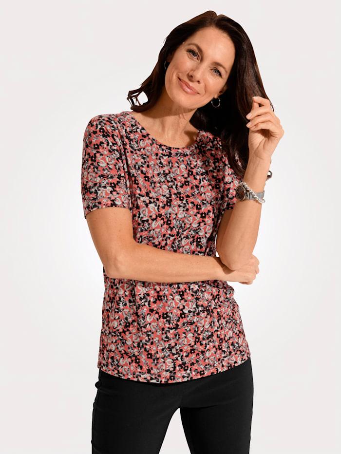 MONA Shirt mit allover Blumendruck, Altrosa/Schwarz/Natur
