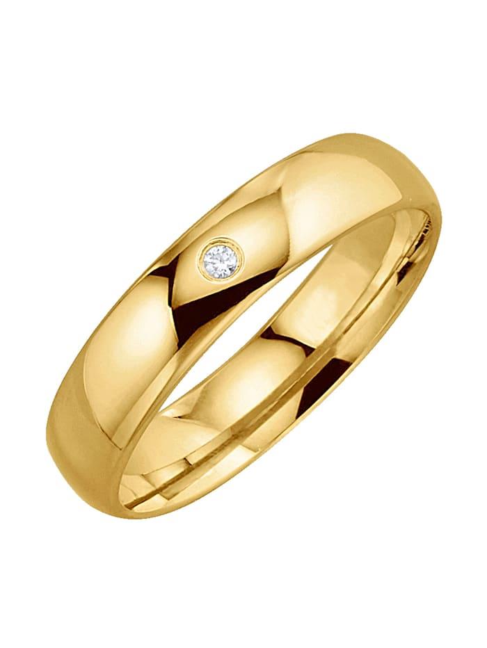 Harmony Trouwring metdiamant, Geel