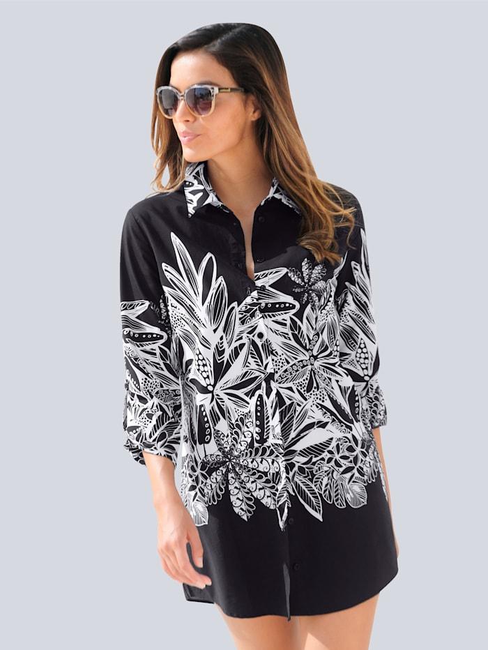 Alba Moda Strandbluse mit Blätterdessin, Schwarz