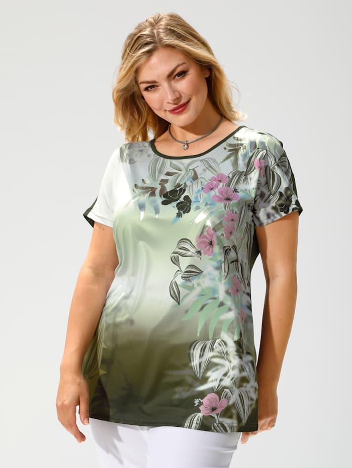 m. collection Shirt vorne mit Blumenmuster, Oliv/Rosé/Lindgrün