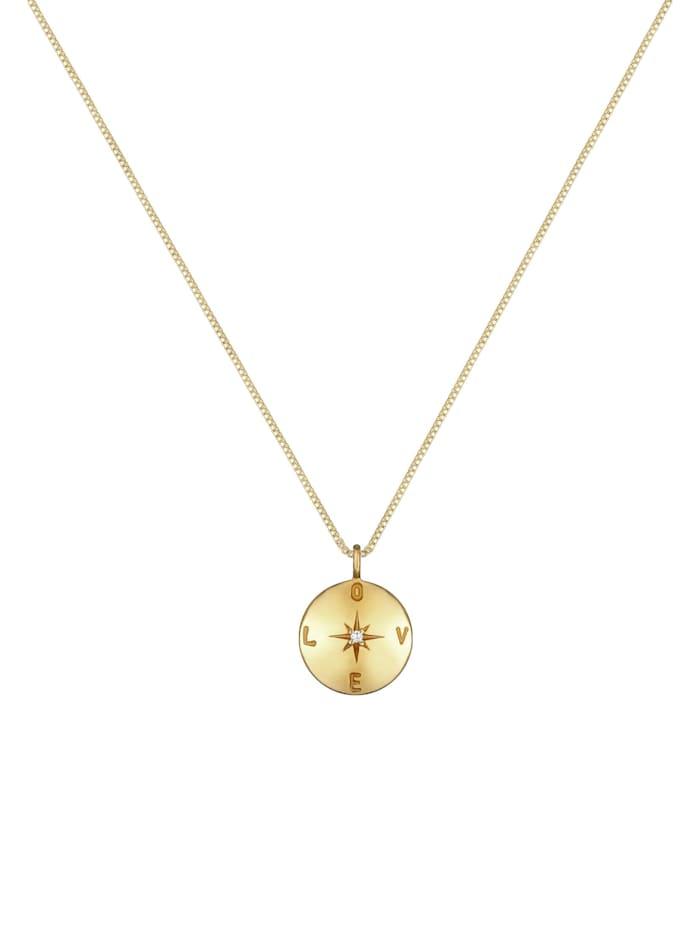 Halskette Box Chain Love Plättchen Coin Zirkonia 925 Silber