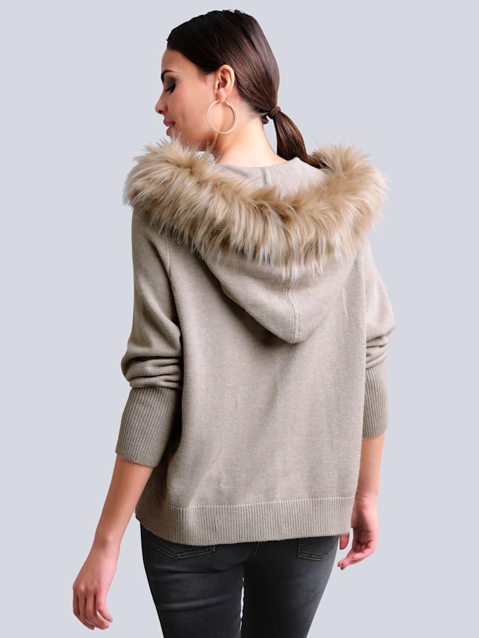Vest met beleg van imitatiebont aan de capuchon