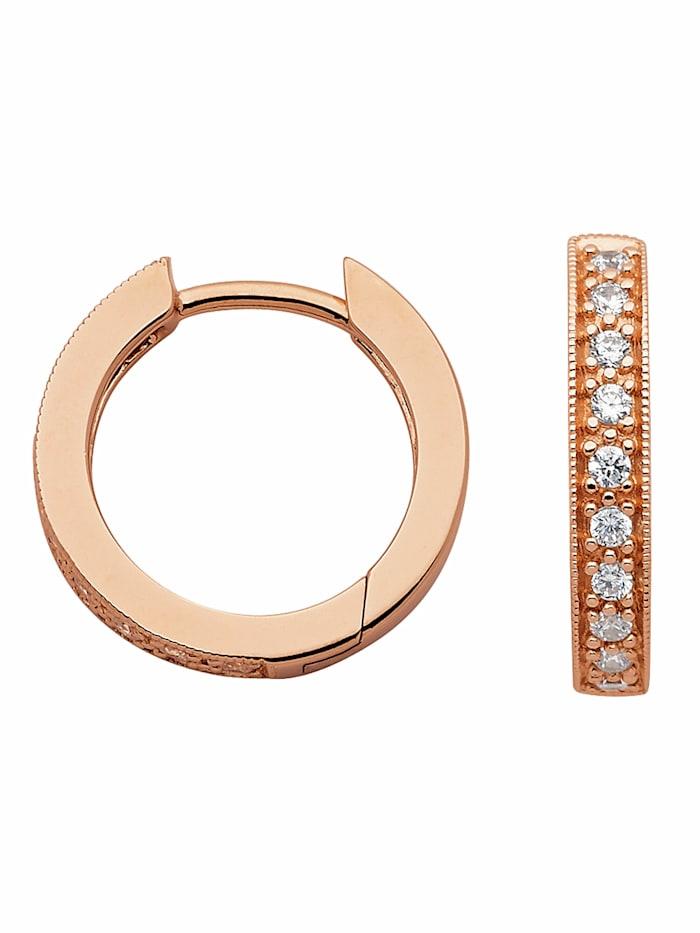 1001 Diamonds Damen Silberschmuck 925 Silber Ohrringe / Creolen mit Zirkonia Ø 15,5 mm, rose