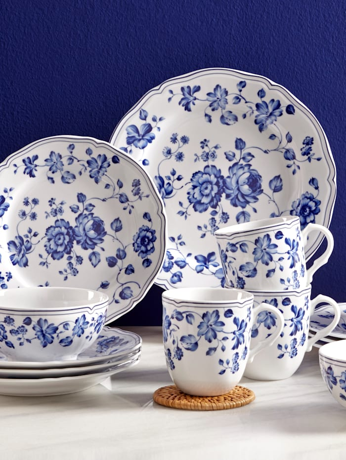 Creatable 16-delig servies Alba - Royal Blue Flower, blauw/wit