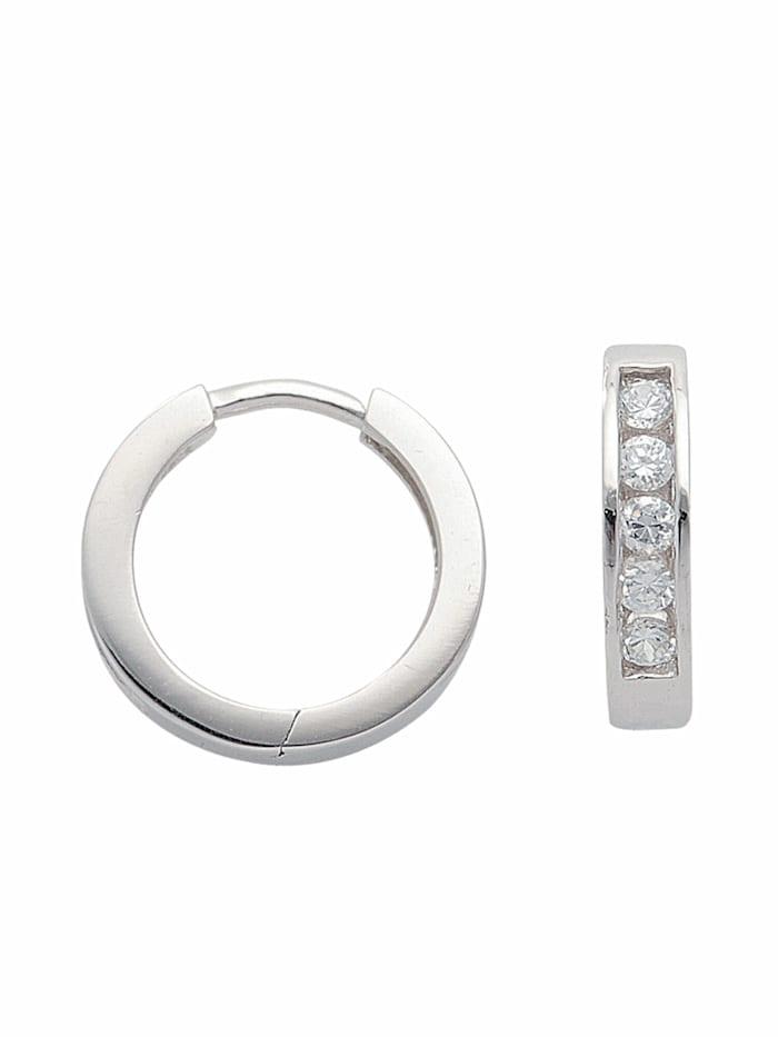 1001 Diamonds 1001 Diamonds Damen Silberschmuck 925 Silber Ohrringe / Creolen mit Zirkonia Ø 14,1 mm, silber